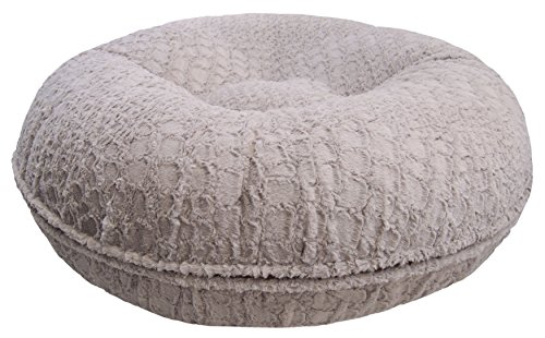 Bessie and Barnie Signature Serenity Grey Extra Plush Faux Fur Bagel Pet / Dog Bed (Multiple Sizes)