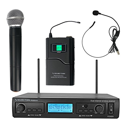 el Professional UHF Wireless Microphone System with 1 Handheld Mic/Headset/Bodypack, for Church, Business Meeting, Outdoor Wedding and Karaoke (SWM20-U2HB) ()