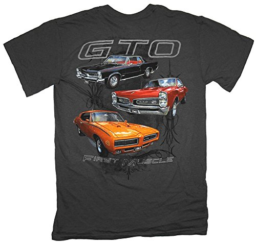 Pontiac GTO First Muscle Automobile Car T-Shirt Tee, Charcoal, XXX-Large
