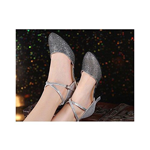 Damen Tanzschuhe Kittenheel Salsa Tango Ballsaal Latein Party Outdoor Schwarz Silber 3,5CM