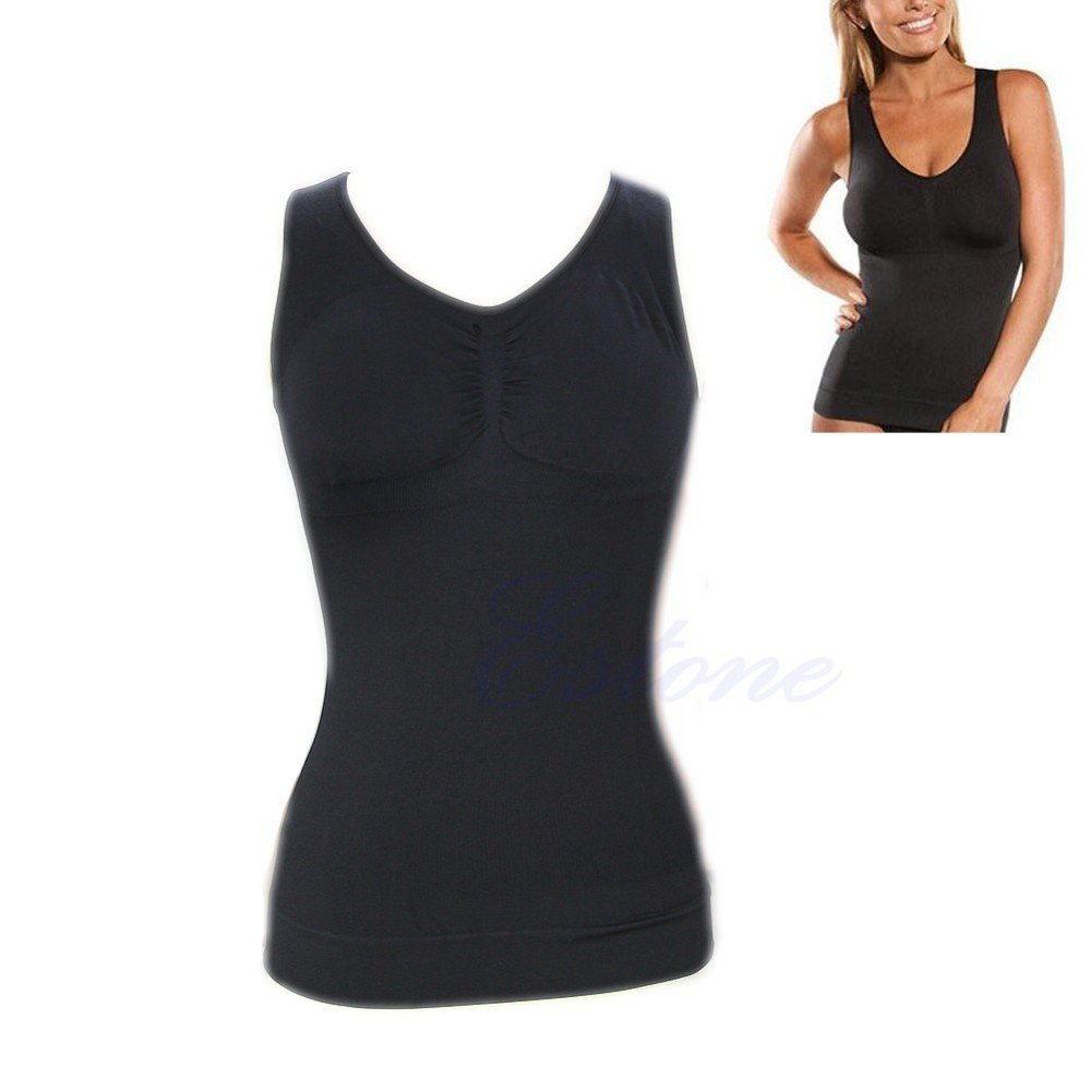 2018 Women Bodyshapers Slim Up Lift Plus Size Bra Cami Tank Top Women Body Shaper Removable Shaper Underwear Slimming Vest Corset & Travel Pouch (M, BLACK)