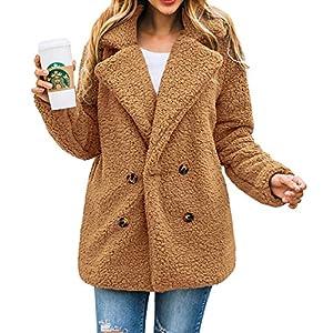 PRETTYGARDEN Women's Fashion Long Sleeve Lapel Zip Up Faux Shearling Shaggy Oversized Coat Jacket with Pockets Warm…