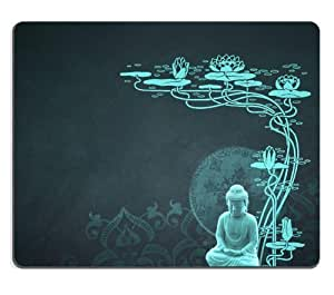 Peaceful Budda with Lotus Flower Mouse Pads Customized Made to Order Support Ready 9 7/8 Inch (250mm) X 7 7/8 Inch (200mm) X 1/16 Inch (2mm) High Quality Eco Friendly Cloth with Neoprene Rubber MSD Mouse Pad Desktop Mousepad Laptop Mousepads Comfortable C