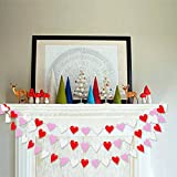 Colorful Heart Garland Bunting   Romantic Valentines Day Decoration  Valentine Garland Banner   Bridal Shower, Engagement, Wedding Party Decorations   Home, Mantel Decor   Pack of 2 , 26.2 ft Total