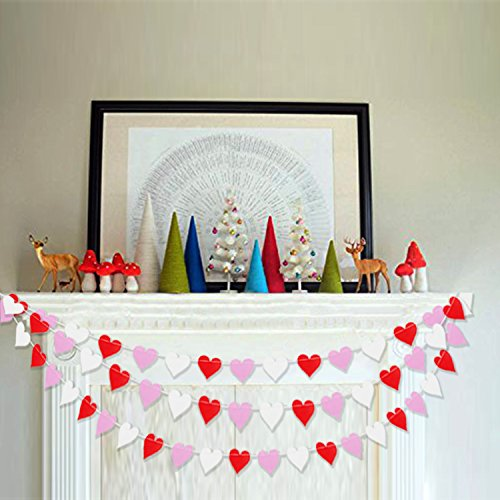 Colorful Heart Garland Bunting | Romantic Valentines Day Decoration | Valentine Garland Banner | Bridal Shower, Engagement, Wedding Party Decorations | Home, Mantel Decor | Pack of 2 , 26.2 ft Total -