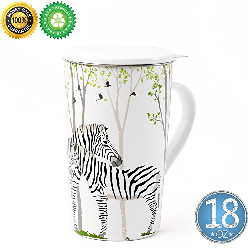 Bone China Tea-Mug(18 oz) with Diffuser and Lid, TEANAGOO-Jupiter, Office Tea-cup with steep strain Steeper - 3D Zebra, Brewing Strainer for Loose Leaf, One Tea Drinking Filter Set for Father's day