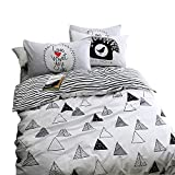 Geometric Duvet Cover Set Queen Size Triangle Printed Striped Duvet Cover Set Reversible Bedding Set 100% Cotton Adults Kids Students Boys Girls Duvet Quilt Cover With 2 Shams, Hotel Quality