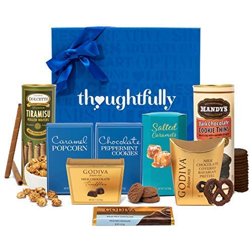 Sweet Treats and Godiva Chocolate Snacks Gift Box by Thoughtfully | Includes Godiva Chocolate Truffles, Mandys Dark Chocolate Cookie Thins, Godiva Chocolate Bavarian Pretzels and Much More