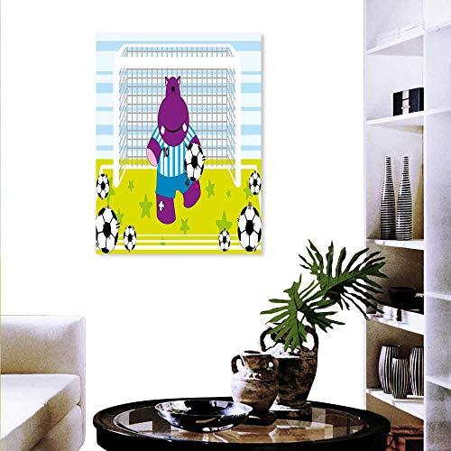 Football Daisy Canvas Vintage (Sports Wall Art Canvas Prints Cute Hippopotamus Soccer Goal Keeper Football Play Cartoon Print Modern Wall Art Living Room Decoration 16