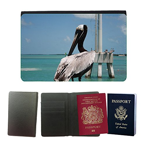 Hello-Mobile Flip PU Leather Travel Passport Wallet Case with Flight Ticket Slots // M00136534 Florida Key West Pelican Nature // Universal passport leather cover