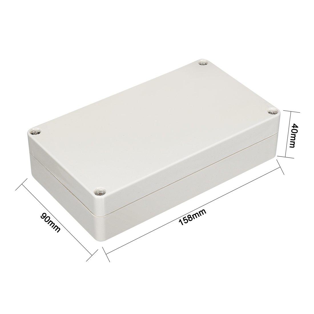 40mm elektronisches ABS Plastik Anschlusskasten Geh/äuse Anhang Grau sourcing map 158 90