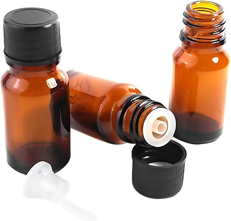 HugeDE 10pcs botellas de vidrio ámbar de 10ml, rellenable, vacío botellas de aceites esenciales botellas de aromaterapia