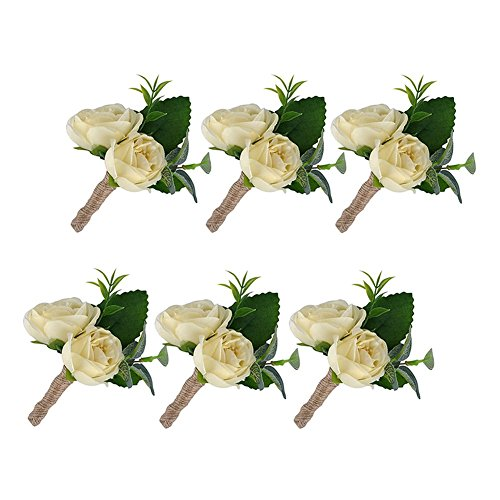 YSUCAU Handcrafted Boutonniere for Men Wedding, Brooch Bouquet Corsage Classic Artificial Groom Bride Flowers with Pin for Wedding Prom Party 6 Pcs ()