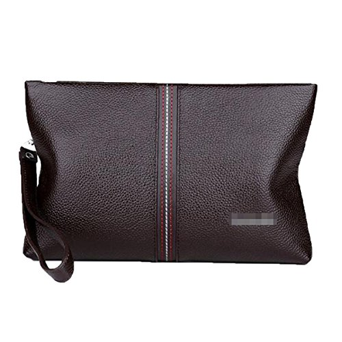 Wallet Package Zipper Envelope Hand Business Bag Leather Large Capacity Men's Brown Clutch Genuine Purse CqwznvP