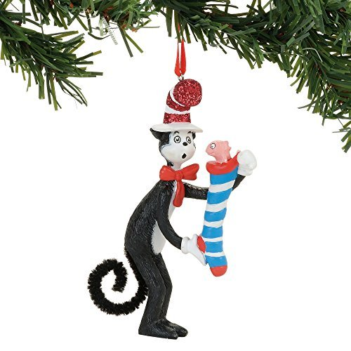 Department 56 Dr. Seuss Cat in the Hat Striped Stocking Surprise Hanging Ornament ()