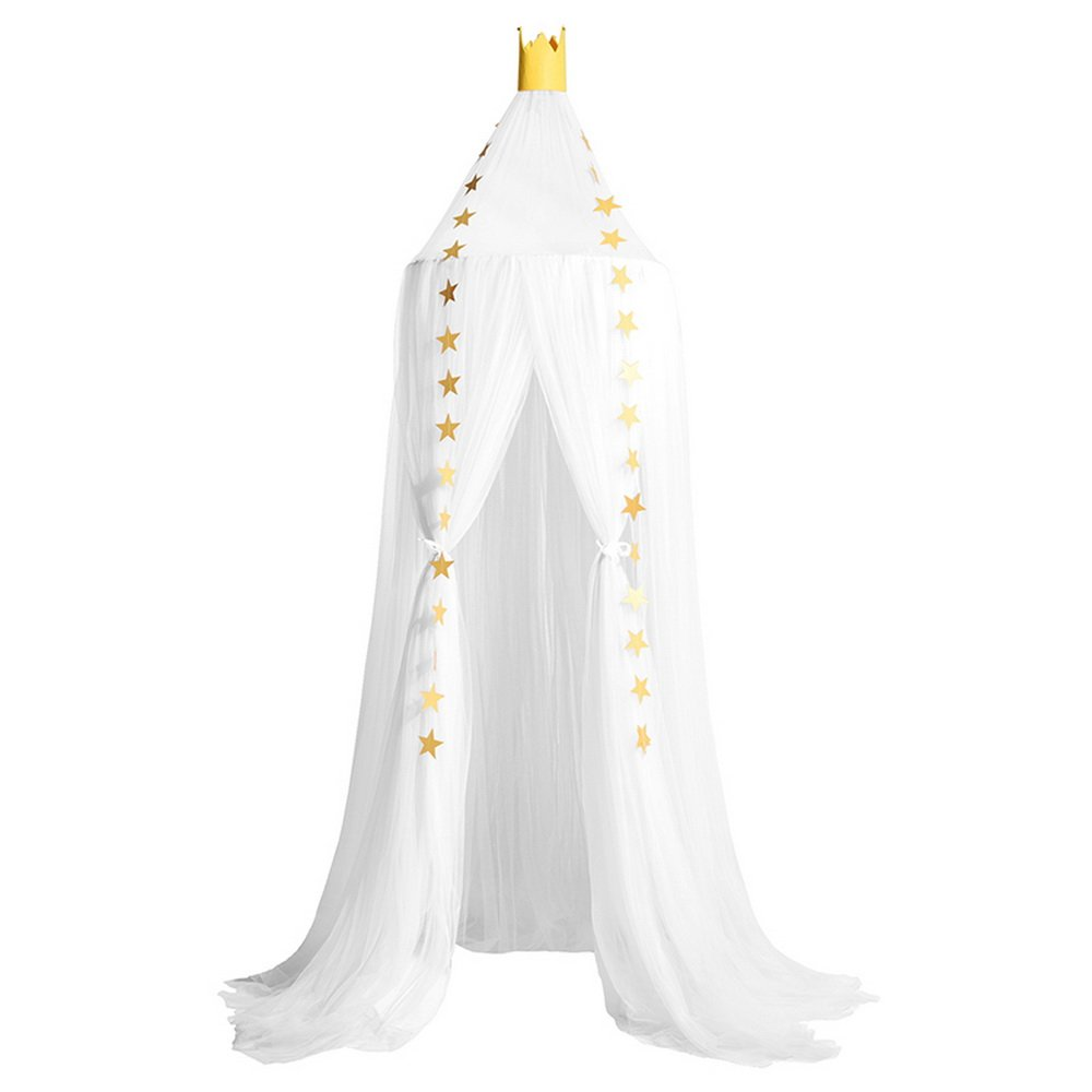 Didihou Mosquito Net Bed Canopy Yarn Play Tent Bedding for Kids Playing Reading with Children Round Lace Dome Netting Curtains Baby Boys and Girls Games House (White) by Didihou