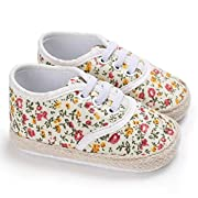 Lotus.flower Newborn Baby Girls Floral Prewalker Soft Sole Antiskid Sneaker Shoes Trainer (0-6 Months, Yellow)
