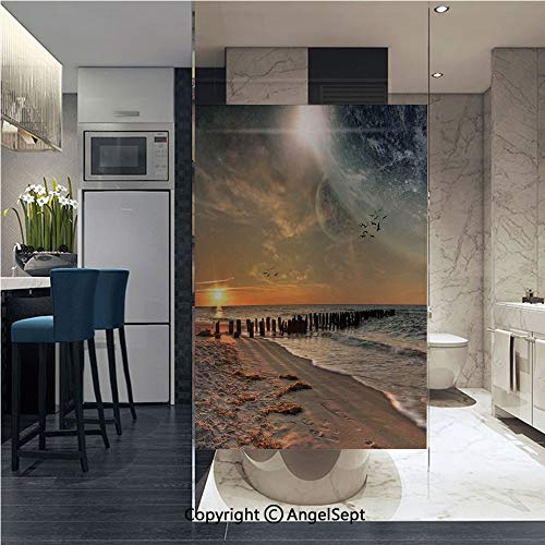 AngelSept No Glue Static Cling Glass Sticker Magical Solar Eclipse on Beach Ocean with Horizon Sun Moon Globe Gulls Flying View,22.8