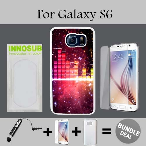 Nebula Music Visualizer Custom Galaxy S6 Cases-White-Plastic,Bundle 3in1 Comes with HD Tempered Glass/Universal Stylus Pen by - Visualizer Glasses