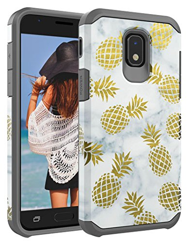 Galaxy J7 (2018) Case, Casy Mall Dual Layer Heavy Duty Hybrid PC+TPU Protect Case for Samsung Galaxy J7 2018 Release Pineapple