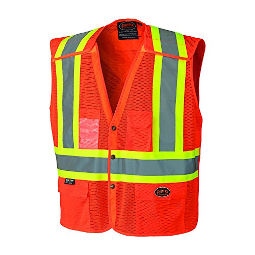Vest Away Tear Safety (Pioneer V1021950U Hi-Vis Safety Vest with Snaps - Orange ( Small ) Includes Reflective