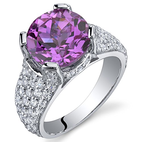 (5.00 Carats Created Pink Sapphire Cluster Ring Sterling Silver Rhodium Nickel Finish Size 6)