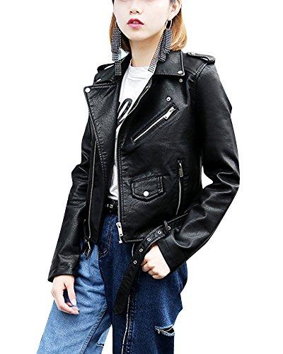 Turn PU Donna Down Colletto Motorcycle Zip Vita Corta Pelle Nero Cintura Outwear Cappotto Con Casual Giacca In 1Bw1T