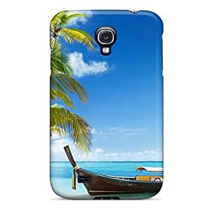 Galaxy S4 Case Cover Skin : Premium High Quality Boat On The White Beach Case