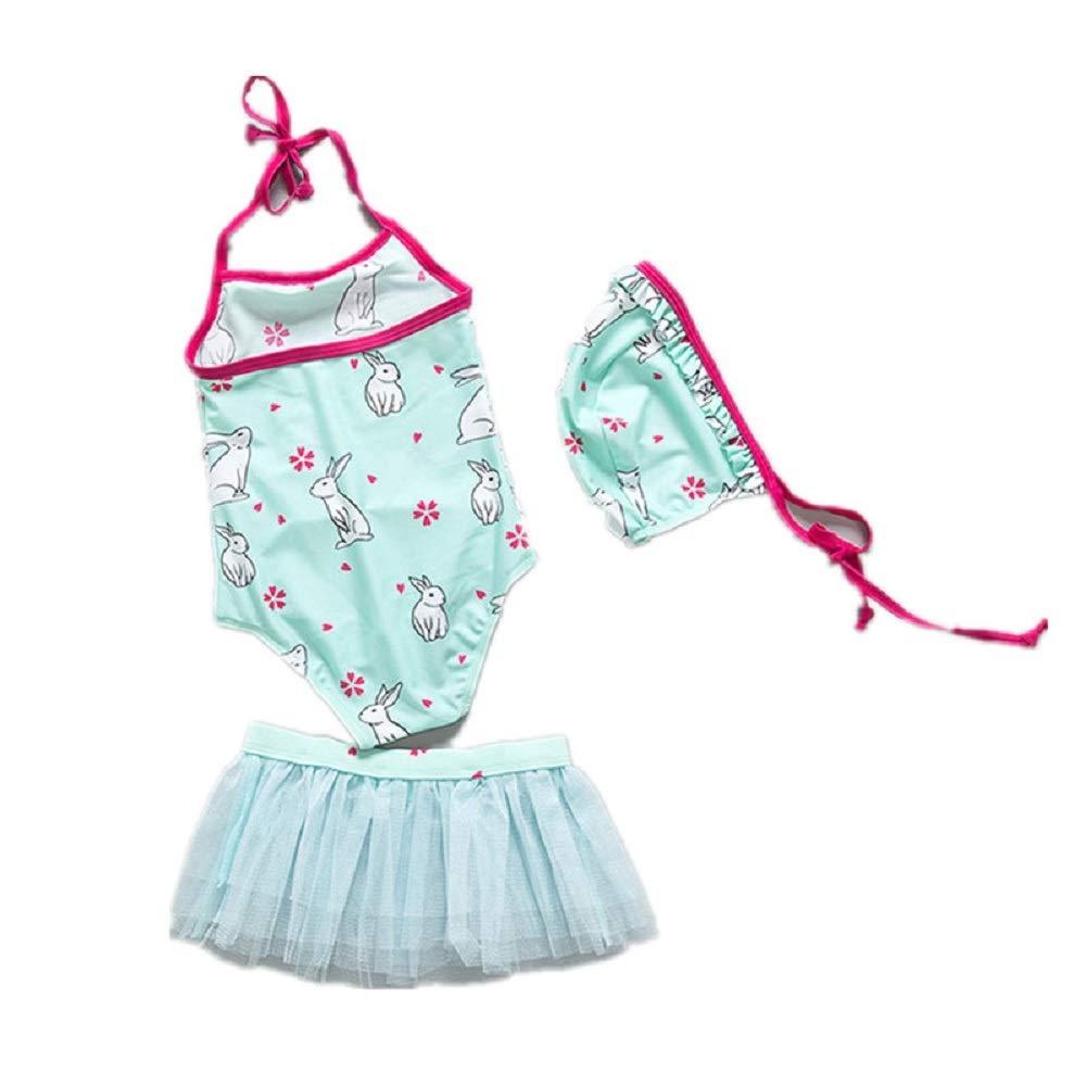 Yunqir Kids Wetsuit 3 Pcs/Set Children's Lace Split Swimsuits Kids Rabbits Patterns Sunscreen Wetsuit for Water Sports(Green)