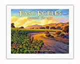 Pacifica Island Art - Paso Robles - Geneseo District - Central Coast AVA Vineyards - California Wine Country Art by Kerne Erickson - Fine Art Rolled Canvas Print - 20in x 26in