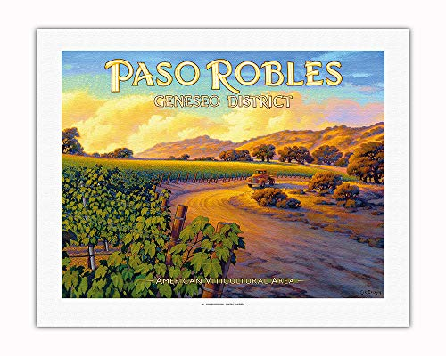 Pacifica Island Art - Paso Robles - Geneseo District - Central Coast AVA Vineyards - California Wine Country Art by Kerne Erickson - Fine Art Rolled Canvas Print - 20in x 26in by Pacifica Island Art (Image #1)