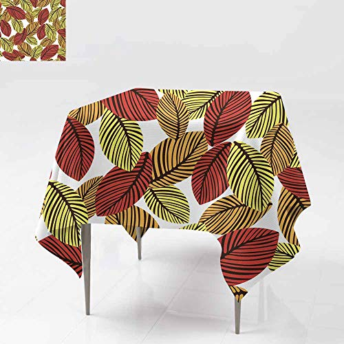 Square Table Cloth,Abstract Autumn Leaves Seamless Pattern Vector Background Hand-Drawn Leaves on a White Background for Fabric Design wallpap Stain Resistant, Washable 70x70 Inch er Wrappers