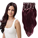 YONNA Remy Human Hair Clip in Extensions Wine Red Double Weft Long Soft Straight 10 Pieces Thick to Ends Full Head 22inch 220g