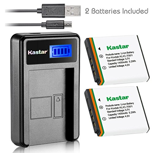 Kastar Battery (X2) & LCD Slim USB Charger for Kodak KLIC-7001, K7001 and Kodak EasyShare M320, M340, M341, M753 Zoom, M763, M853 Zoom, M863, M893 IS, M1063, M1073 IS, V550, V570, V610, V705, V750