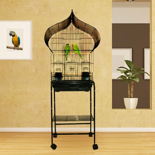 Kahua Kabin Oriental Top Bird Cage with Stand - 18W x 14D x 62H - White by Bird Cages 4 Less B00GPOFF6Y