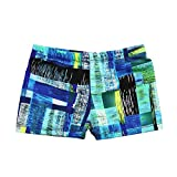Beew Boy's Swim Trunks Swimwear Beachwear Breathable Quick Dry Color Striped Printed Sportwear Casual Beach (L, Blue)