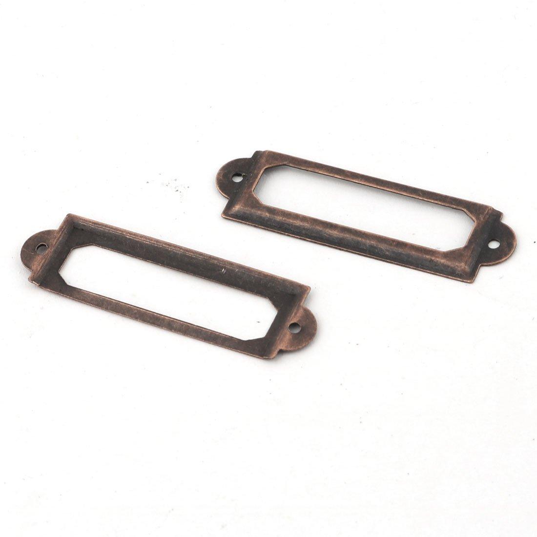 sourcingmap/® Metal Frames Shelves Drawers Box Case Cabinet Name Card Tag Label Holder 56 x 17mm 12 Pcs Copper Tone