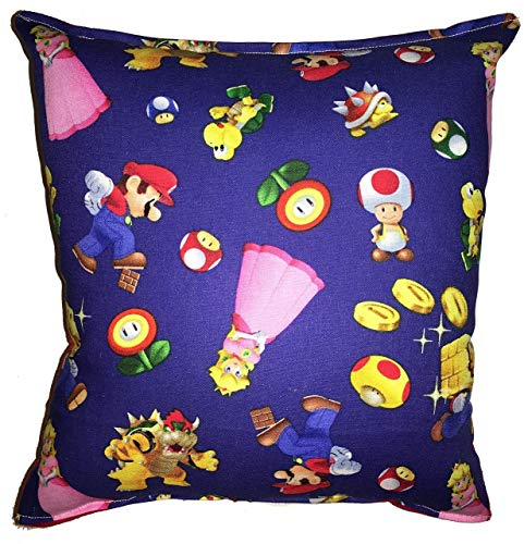 - Mario Brothers Pillow| Super Mario Cartoon | Ideal Size Measuring 10 x 11 inches | Handmade in USA | Ideal for Gift | Hypoallergenic | Multiple Uses | Cotton with Flannel | Nintendo Game Pillow