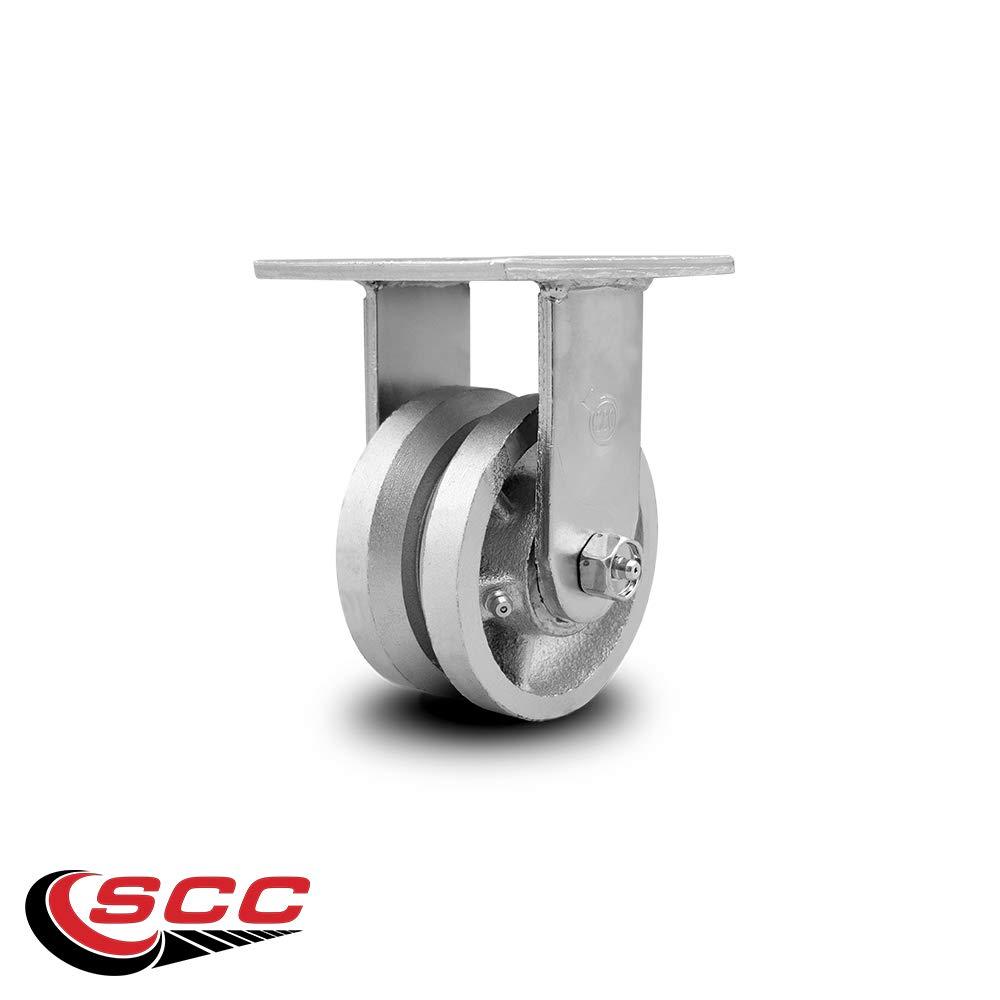 Service Caster - 4'' x 2'' V Groove Semi Steel Wheel Rigid Caster - 800lbs/Caster