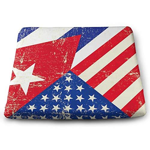 Indoor/Outdoor Comfortable Memory Foam Square Seat Cushion Cuban American Flag Chair Pad Wheelchair Cushion for Car