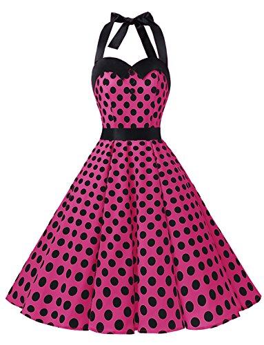 Dressystar Vintage Polka Dot Retro Cocktail Prom Dresses 50's 60's Rockabilly Bandage Rose Black Dot (Polka Dot Cocktail Dresses)