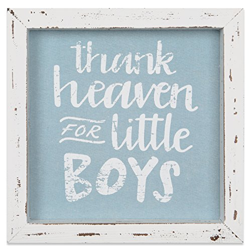 Brownlow Gifts Framed Linen Sign, Thank Heaven for Little Boys -