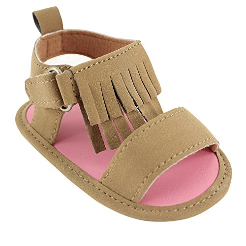 Luvable Friends Girl's Fringe Sandal (Infant), Tan, 6-12 Months M US Infant