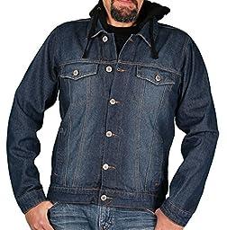 Ablanche Men\'s Denim Jacket w/Hood, Indigo, Size XX-Large
