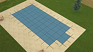 GLI 16 Ft. x 32 Ft. Value Line Swimming Pool Rectangular Safety Cover with 4 Ft. x 8 Ft. End Step, Blue Solid with Drain