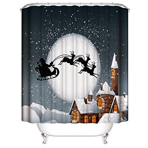 Muuyi Christmas Shower Curtain Fabric, Custom Home Decor Christmas Decoration Background Fabric Shower Curtain Santa Sleigh Flying Reindeer Festive Bathroom Novelty for New Year - 72×72 inches - Santa Sleigh Reindeer