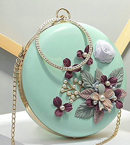 3D Pouch Leather Bag Flowers Evening Pearl Bag Women's QZUnique Green Purse Bag Shell Shoulder Bag Bag Tote PU Embellish Round StznwqnEOx
