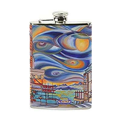 SWQYL Stainless Steel Liquor Portable Hip Flask Wine Pot Seattle Downtown Oil Painting Camping Alcohol Container Bottle Pocket Flagon for Adults