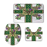 iPrint Fashion 3D Baseball Printed,Celtic,Celtic Knot Design Christian Cross Icon Wreath Flowers Retro Floral Welsh Pattern,Mustard Green,U-Shaped Toilet Mat+Area Rug+Toilet Lid Covers 3PCS/Set