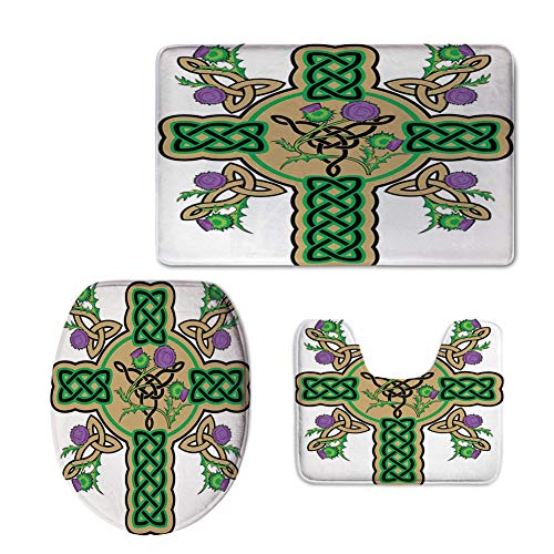 iPrint Fashion 3D Baseball Printed,Celtic,Celtic Knot Design Christian Cross Icon Wreath Flowers Retro Floral Welsh Pattern,Mustard Green,U-Shaped Toilet Mat+Area Rug+Toilet Lid Covers 3PCS/Set by iPrint